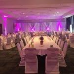 Exemple d'une salle de réception de mariage avec eclairage d'ambiance simple et réussi - Centre des congrès de Lévis